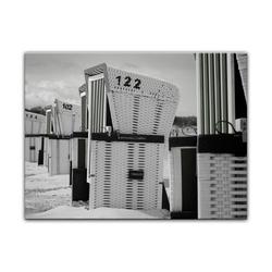 Bilderdepot24 Leinwandbild, Leinwandbild - Strandkörbe - schwarz weiß 40 cm x 30 cm