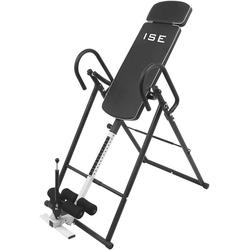 ISE Bauchmuskelmaschine Inversionsbank mit 6 Inversionswinkel klappbarer Schwerkrafttrainer Inversion Table Rücktrainer verstellbar 0-180°Nutzergewicht bis 135 kg,Köpergröße 155-198cm schwarz