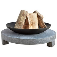 Esschert Design Feuerschale Granito runder Sockel schwarz, 68x68x23 cm,
