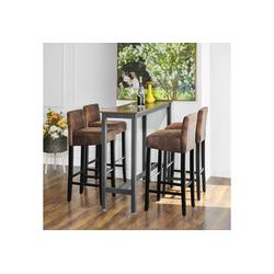 SONGMICS Barhocker LDC32BR, 2er Set Barstühle, braun-schwarz