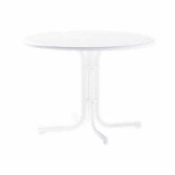SIEGER Gartentisch, weiß Stahlrohrgestell, Mecalit-Pro-Platte