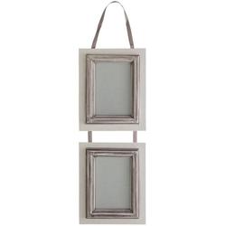 elbmöbel Bilderrahmen Bilderrahmen 2er weiß grau, für 2 Bilder, Wandbilderrahmen: 2er 17x46x2 cm weiß grau Landhausstil