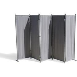Grasekamp Paravent 5 teilig Grau 268 x 167 cm  Raumteiler Trennwand Sichtschutz