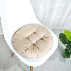 Stuhlkissen Runde Einfarbig Sitzkissen, Morbuy Atmungsaktiv Leinenimitat Tatami Mat Komfortable Stühle Bodenkissen Sitzauflagen für Outdoor Garten Office Sessel (40x40cm,Khaki)