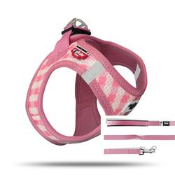 Curli Vest Geschirr Puppy Set pink-caro, Größe: XXXS