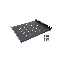 HMF Fachboden 66699 für 19 Zoll Serverschrank Netzwerk-Switch (Regalboden für Netzwerkschrank ab 60 cm Tiefe, Schwarz) schwarz