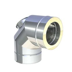 Ø 100 mm Jeremias DW FU Winkel 90° mit Reinigungsöffnung für Öl und Ga