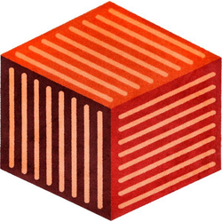 Teppich Puzzle Cube, wash+dry by Kleen-Tex, sechseckig, Höhe 9 mm, In- und Outdoor geeignet, waschbar, Wohnzimmer rot