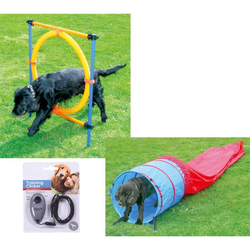 Hunde Agility-Set Hundesport Sprungreifen + Agilitytunnel + Clicker