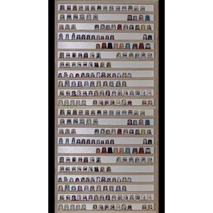 Sammler Vitrine Setzkasten Fingerhut v-77 - Birke, Maße: 41 cm x 102 cm x 5 cm, weiße Rückwand von Alsino