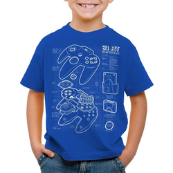 style3 Print-Shirt Kinder T-Shirt N64 Controller Blaupause 64-Bit Videospiel blau 116