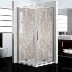 dedeco Alu Eck-Duschrückwand mit Holz Motiv V2-2 x 90x200 cm - Perfekt als Badrückwand zum Fliesenersatz, passend für viele Bäder als Dekorwand aus hochwertigem Aluminium - Made in Germany