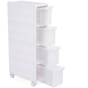 SONGMICS Rollwagen mit 4 Schubladen, Nischenregal mit 4 Ebenen, 2-teilig, separat benutzbar, Küchenregal, Badregal, Standregal, Allzweckwagen mit Rollen, 84,5 cm hoch, weiß KFR05W
