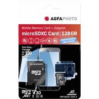 AgfaPhoto microSDXC 128GB Class 10 UHS-I U3 + SD-Adapter