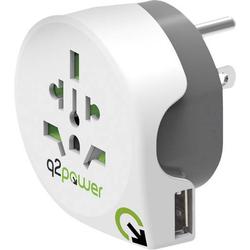 Q2 Power 1.100150 Reiseadapter Welt nach USA mit USB