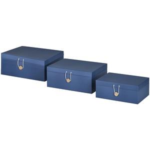 Aufbewahrungsboxen, 3er-Set ¦ blau ¦ Papier ¦ Maße (cm): B: 33,2 H: 14,8 T: 25,2