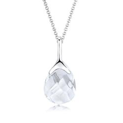 Elli Kette mit Anhänger Bergkristall Tropfen Klassisch 925 Silber weiß