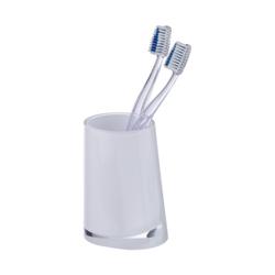 WENKO Paradise Zahnputzbecher, Moderner Zahnbecher zur Aufbewahrung von Zahnbürsten und Zahnpasta, White