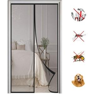 Magnet Fliegengitter Tür Automatisches Schließen Magnetische Adsorption Moskitonetz Tür, für Balkontür Wohnzimmer Terrassentür-Black|| 90x250cm(35x98inch)