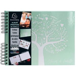 Exacompta 16084E Premium Fotoalbum Familie mit 50 Seiten, perfekt für Ihre Fotos zum selbstgestalten Fotobuch Spiralalbum grün