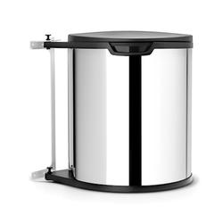 Brabantia Abfalleimer für Küchenschrank rund, Plastikinneneimer (inkl befestigung) 15 L blankes Stahl