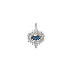 Smart Jewel Silberring mit Zirkonia und dunkelblauem Kristallstein, Silber 925 68
