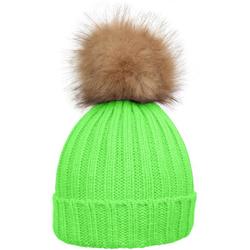 styleBREAKER Bommelmütze Strickmütze mit Kunstfellbommel grün
