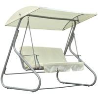 Outsunny Gartenschaukel beige/silber 3-Sitzer