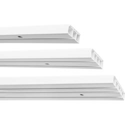 Gardinenstange Kunststoff Gardinenschiene, 1-/2-/3-läufig, weiß, Garduna, 2-läufig 120 cm