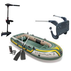 Intex Seahawk 3 Schlauchboot Set inkl. Außenbordmotor & Halterung