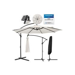 Arebos Sonnenschirm Luxus Ampelschirm Gartenschirm mit LED Beleuchtung Ø3m Wasserabweisend, Set, ohne Wegeplatten