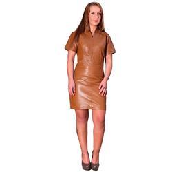 Fetish-Design Lederkleid Damen Lederkleid Etuikleid Cognac echtes Nappa Leder S (36)