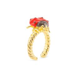 Monkimau Fingerring Damen Ring Marienkäfer Glücksbringer 18k Gold, 18 Karat vergoldet