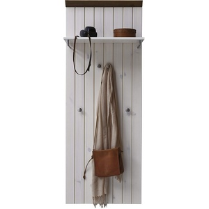 Steens Monaco Garderobenpaneel, 52 x 144 x 7 cm (B/H/T), Kiefer massiv, weiß grau, Echtholz im Landhaus Stil