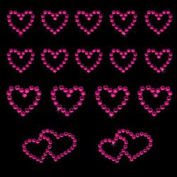 16 Herz Sticker Strass Steine Aufkleber Hochzeit Deko - pink
