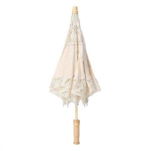 Spitze Blumenschirm, handgemachte Stickerei Sonnenschirm Hochzeit Braut Fotografie Sonnenschirm Regenschirm Kinder Regenschirm(S-Beige)