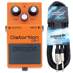Boss by Roland E-Gitarre Boss DS-1 Distortion Pedal + Gitarrenkabel 3m