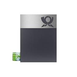 MOCAVI Briefkasten MOCAVI Box 500 Hochwertiger Design-Briefkasten anthrazit (RAL 7016) modernes Edelstahl-Motiv-Schild Posthorn V4A