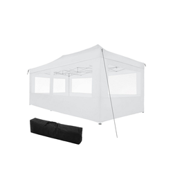 tectake Pavillon Faltbarer Garten Pavillon 3x6m mit 4 Seitenteilen weiß