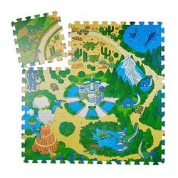 relaxdays Puzzlematte Dinosaurier grün/bunt 31,0 x 31,0 cm
