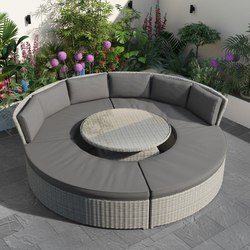 Grey Round Garden Sofa Set With Day Bed and Cool Box Seats - Como