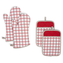 4pc Cotton Bistro Grid Oven Mitt and Pot Holder Set Red - Town & Country Living