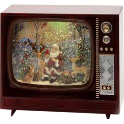 Konstsmide 4383-000 Fernseher mit Weihnachtsmann und Tieren LED Braun beschneit, mit Wasser gefüllt