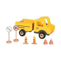 goki Spielzeug-Auto Baustellenfahrzeug mit Verkehrsschildern