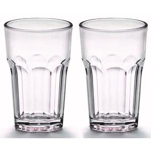 Viva Haushaltswaren - 2 x bruchfestes Latte Macchiato Glas 300 ml, Longdrinkgläser aus hochwertigem Kunststoff als Wasserglas, Cocktailglas, Kaffeeglas, Partybecher etc. verwendbar (wie echtes Glas)