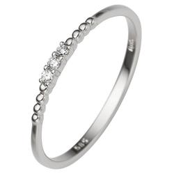 JOBO Diamantring, schmal 585 Weißgold mit 3 Diamanten 54