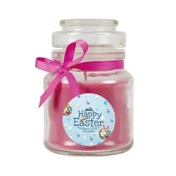 HS Candle Duftkerze (1-tlg), Frohe Ostern - Bis zu 110h Brenndauer - Kerze im Bonbon Glas, Kerze mit Motiv zur Osterzeit, vers. Düfte / Größen lila Ø 7 cm x 10 cm