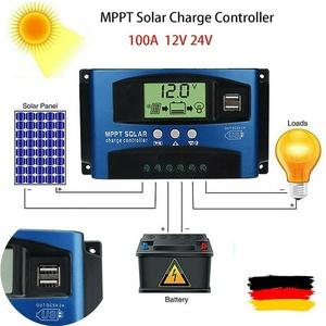 12V/24V MPPT 100A Solarpanel Batterieregler Laderegler Aufladen Regler Dual USB