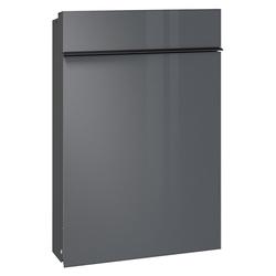 Serafini Briefkasten Serafini Briefkasten Flat aus Stahl Korpus schwarz Front Glas grau (DB 703) 30.7175.45-045