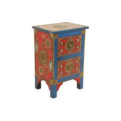 Casa Moro Nachtkommode Orientalische handbemalte Kommode Shiva 40x30x60 (B/T/H) (1 St), Handbemalt & Handbemalt